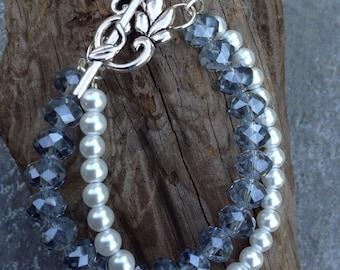 Double strand beaded bracelet, double strand bracelet, pearl bracelet, two strand bracelet, layered bracelet, layered jewelry