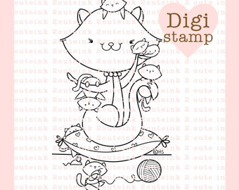 Momma Cat Digital Stamp for Card Making, Paper Crafts, Scrapbooking, Hand Embroidery, Invitations, Stickers, Coloring Pages, Mothers Day