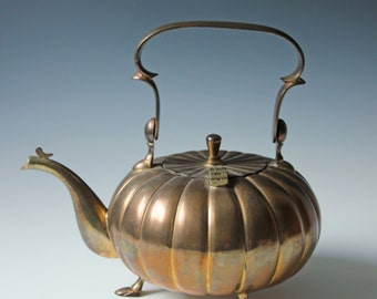 Vintage solid brass melon shaped teapot  - heavy brass bohemian table decor