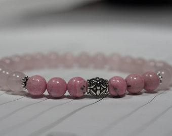 Rose Quartz and Rhodochrosite Mala Bracelet,Women's Healing Bracelet,  Bead Bracelets