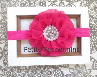 Hot Pink Baby headband, headband baby,infant headband, toddler headband,Hot Pink Flower Baby Hair Bow Baby Head Band, Hot Pink Baby Headband