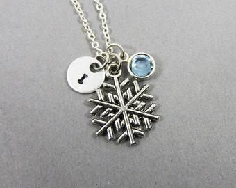Frozen Snowflake Necklace - Personalized Initial Name, Customized Swarovski crystal birthstone