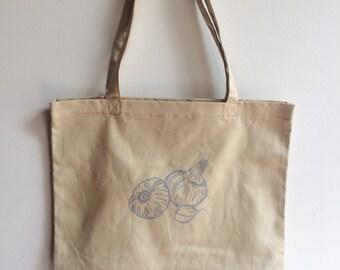 Garlic Tote Bag, Market Tote, Food Bag, Reusable Bag