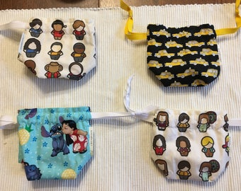 Dice bag / knitting notions / change purse / drawstring bag, fully reverseable - Star Trek meeple, Firefly meeple, Taxi, Lilo & Stitch
