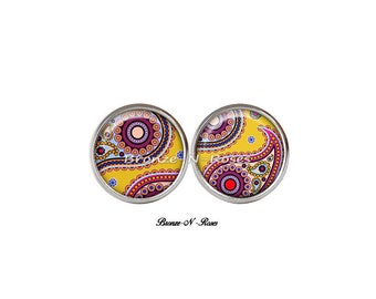 Stud Earrings * indian paisley * glass stainless steel yellow glass cabochon