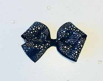 Black large bow, metallic spotted bow , black silver spot bow