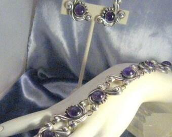 Amethyst Mexico/Bracelet Vintage Mexican Sterling Amethyst Bracelet Earrings Demi