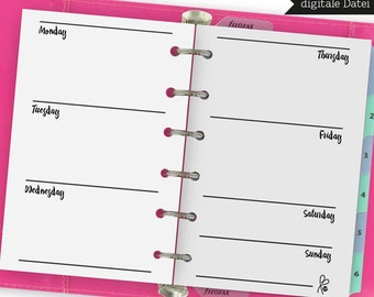 Filofax POCKET / Weekly Planner Blanko / filofax inserts / Filofax Calender / Weekly Planner / Inserts / Printable / INSTANT DOWNLOAD