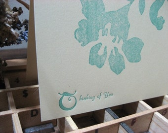 Thinking of You Letterpress card ~ Handmade ~ FREE shipping within the US ~