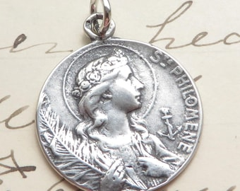 St Philomena Medal - Patron of babies & infertility - Sterling Silver Antique Replica