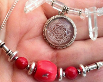 "18"" Shri Devi Mandala Crystal, 22"" Pearl or 20"" Red Coral Necklace. Sterling Silver, Yellow Green Biwa Pearl.  free US ship"