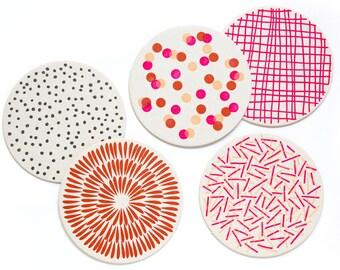 Letterpress Coaster Set   Pink Pattern   Set of 10
