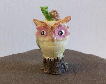 Miniature owl with snail, Fairy garden or terrariums mini tiny owl figurine