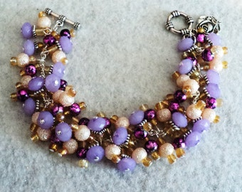Lavender Rose Charm Bracelet, Lavender and Cream Cha Cha Bracelet, Rose Charm Bracelet, Summer Garden Bracelet  - Lavender and Lace