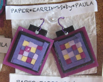 purple*paper*patchwork*earrings