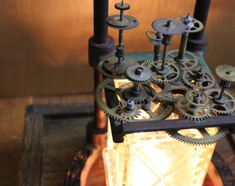 Handcrafted Steampunk-Industrial Repurposed Lamp