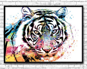 Tiger poster, animal watercolor, home decor, gift idea mothers day, art print