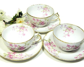 Three Antique Charles Field Haviland GDA Limoges Teacups and Saucers Pink Floral
