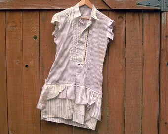 the apothecarist. womens reconstructed vintage striped tunic blouse lg. raw tattered steampunk waistcoat lagenlook altered upcycled shirt