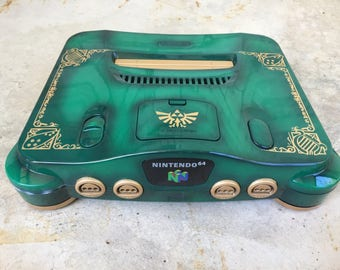Custom Painted Link The Legend of Zelda Ocarina of Time Nintendo 64 Console (Green)