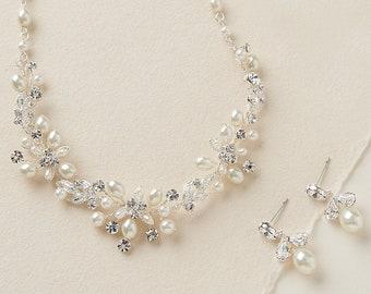 Pearl Jewelry Set, Pearl Bridal Jewelry, Pearl Wedding Jewelry, Rhinestone & Pearl Jewelry Set, Bridal Accessories, Wedding Jewelry ~JS-1637