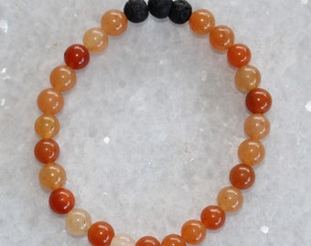 Red Aventurine Diffuser Bracelet / Healing Crystals  / Crystal Jewelry / Stacked Stacking Bracelets / Free US Shipping