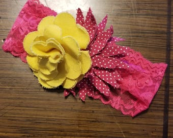 Yellow and hot pink detachable clip and headband