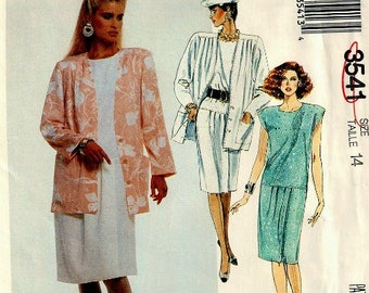 Uncut 1980s McCalls 3541 dress and jacket with front pleats in size 14 / petite