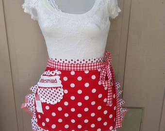 Womens Aprons Red Dot Aprons Womens Half Aprons I Love Lucy Aprons Red and White Dot Aprons Annies Attic Aprons Etsy Aprons Red Dot Aprons