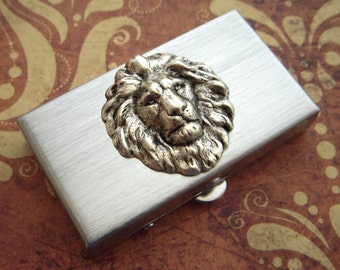 Small Pill Box Silver Lion Tiny Silver Tone Metal Pill Case Gothic Victorian Steampunk Style