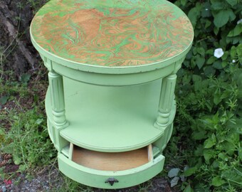 Hand Carved Green Shabby Chic End Table