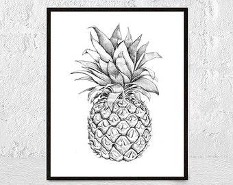Pineapple Print, Wall Art, Black and White Print, Pineapple Art, Tropical Art, Kitchen Art, Printable, Minimalist, Pineapple Poster, Fruit
