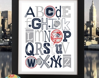 NY YANKEES ABC Nursery Art Print