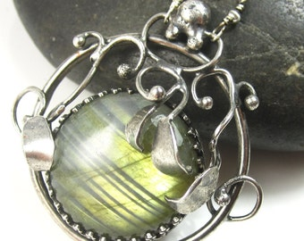 Over the Moon - Labradorite and Sterling Silver Plant Necklace