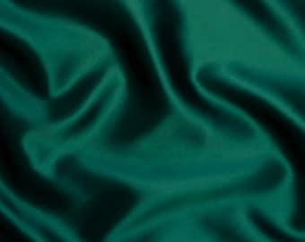 Hunter Green Satin Fabric FQ - Bridal Satin - Firm Texture