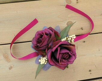 Wrist Corsage, Wedding Corsage, Marsala Wedding Accessories, Burgundy Corsage, Burgundy Wedding Flowers, Bridesmaid Corsages, Wedding Decor