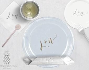 Wedding Initials Plastic Cups | Personalized Plastic Plates | Monogram Napkins | Personalized Stir Sticks | Party Plates, Napkins or Cups