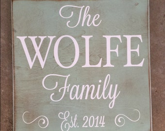 Square custom wood sign decorative wedding gift family name sign