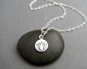 tiny silver lotus flower necklace. etched sterling silver zen yoga yogi jewelry. simple delicate charm everyday dainty jewelry gift 3/8""