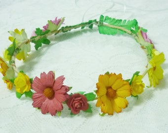Daisy crown Yellow Orange Flower crown Floral leaf headpiece Floral head band