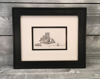 Wall Art, Original Pen and Ink Drawing, Gambling Cards & Dice, - Framed Art by Guido E. Orsini, Fine Artwork