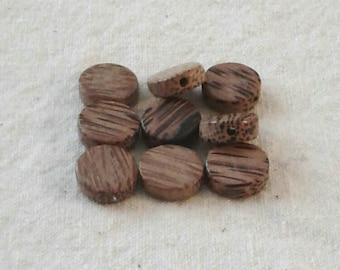 SALE - Dime-Shaped Wood Beads -15 x 5 mm - Set of 9