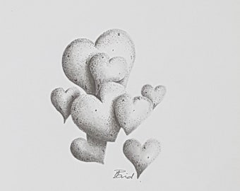 Pack of 5 3D Hearts Greetings Cards