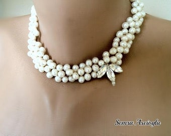 Freshwater Pearls Brides Bib Necklace with Crystal flower