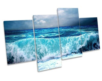Stormy Beach Wave Sunset Blue CANVAS WALL ART Multi Box Framed Print