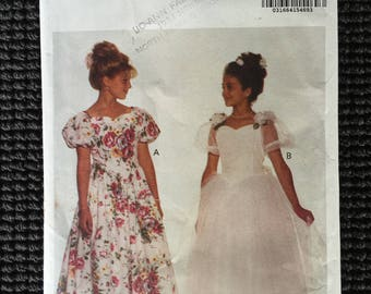 Pretty Butterick 6603 Girls Dress Sewing Pattern Formal Tea Length Gown Size 12-14 UNCUT