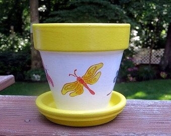 Dragonfly Painted Flower Pot, Four Inch, Terra Cotta