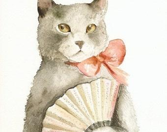 Lady with a Fan- Cat art