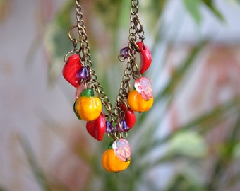 Lampwork necklace Vegeteble glass bead jewelry Artisan beads Nature necklace Miniature food necklace Pumpkin Jewelry gardener gift gardening