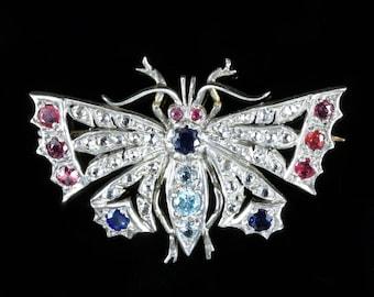 Diamond Sapphire Ruby Aquamarine Butterfly Brooch